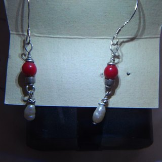 Red Coral Silver Earrings
