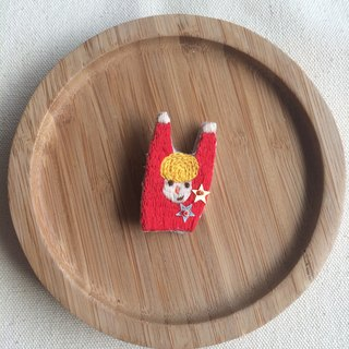 C'est trop Mignon \\ handmade embroidery embroidery * blond man in red cheered pin