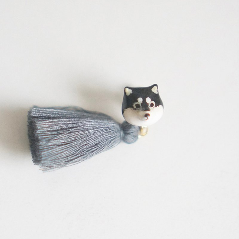 Unicorn forest black Shiba Inu single ear clip or ear clip
