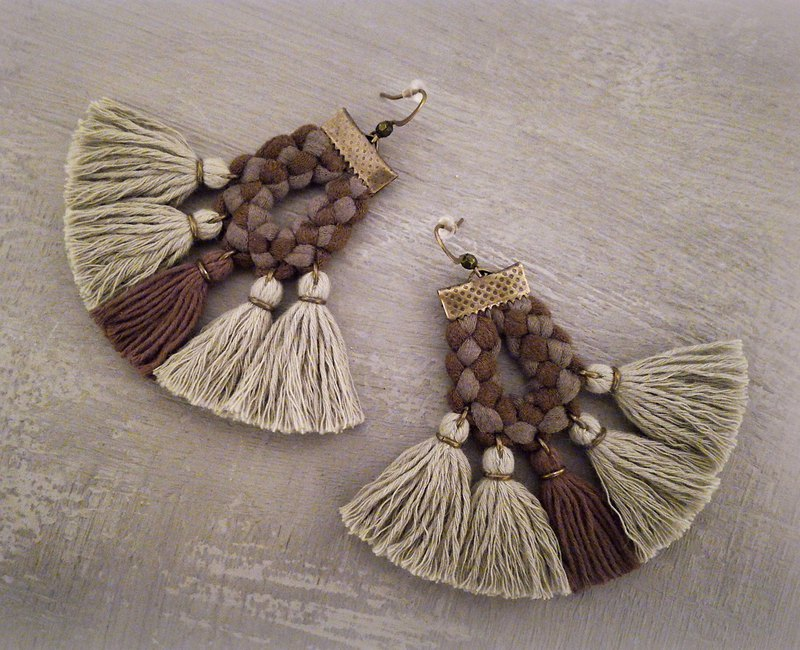 Camouflage Tassel Earrings Army Green Military Style