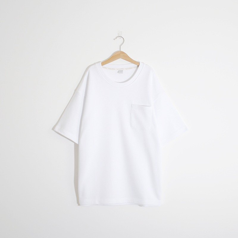 Thick version loose shoulder hem open version white thick plain pocket Tee - Sold Out