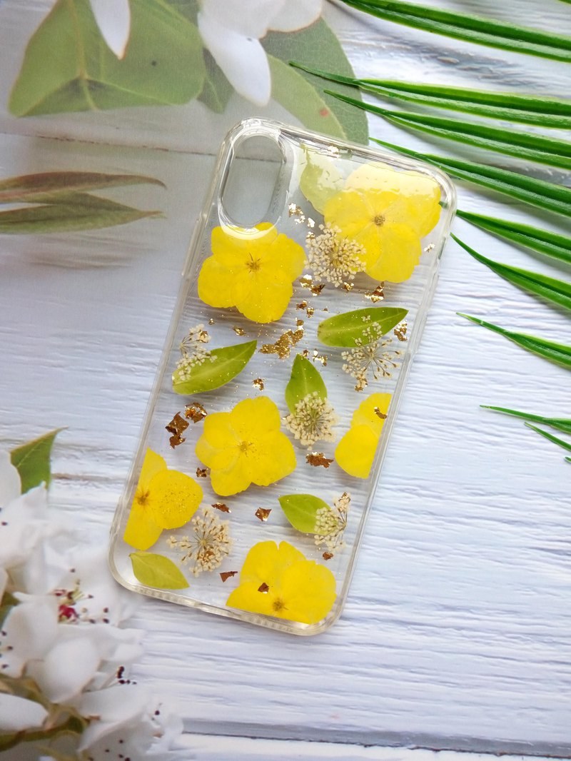 Pressed flower phone case, iPhone X, iPhone XS, Spring color
