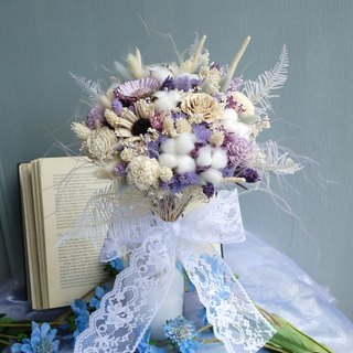 Wedding Collection - light purple stars dry flowers bridal bouquet (holding bouquet box)