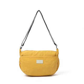 Simple water-repellent cross-body bag / shoulder bag / shoulder bag / black / yellow / light blue / brown - 8567