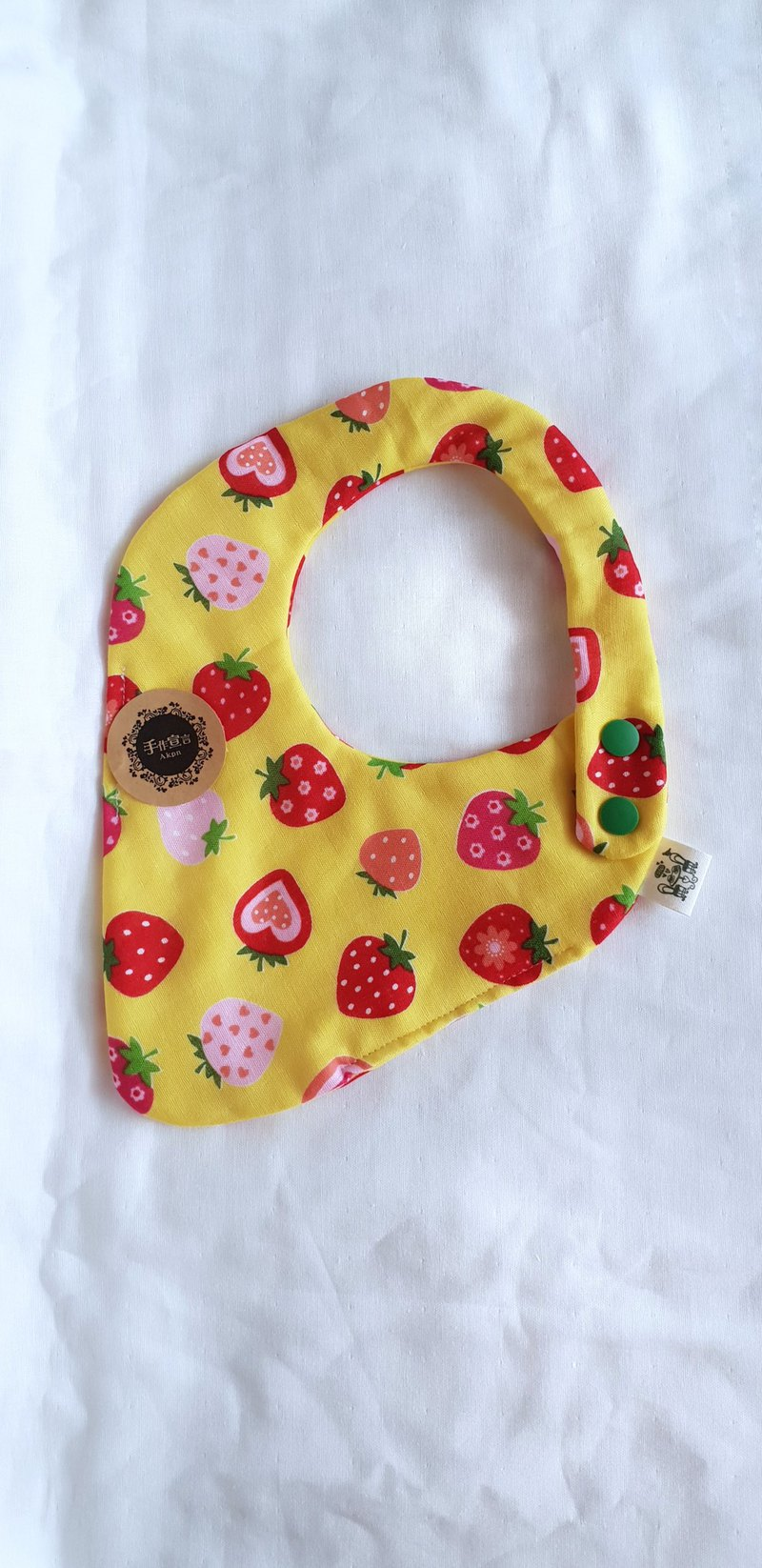 Strawberry Daifuku - Yellow Bottom - Eight Layers 100% cotton double sided strawberry corner bib. Saliva towel. Double button adjustable