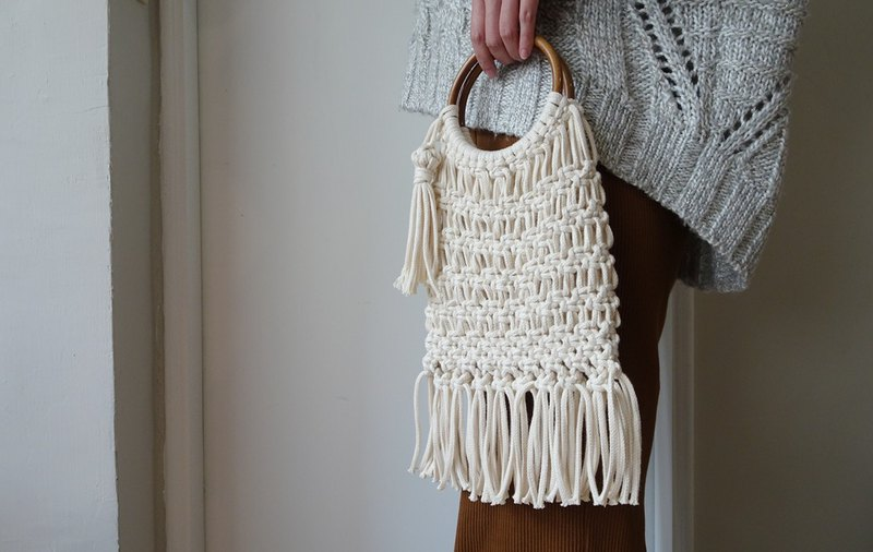 【Workshops】Macrame bag wood ring tote