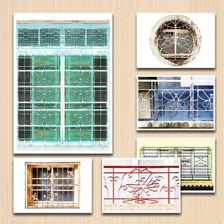 Old House - Butterfly Window Grille Postcard Set