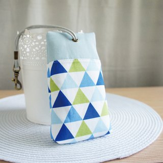 Lovely [Korean cloth] water blue triangle palm house zipper key case, ID card, long key can be