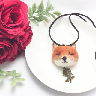 Wool Felt Winking Fox Necklace Valentine's Day Customized Plus Word