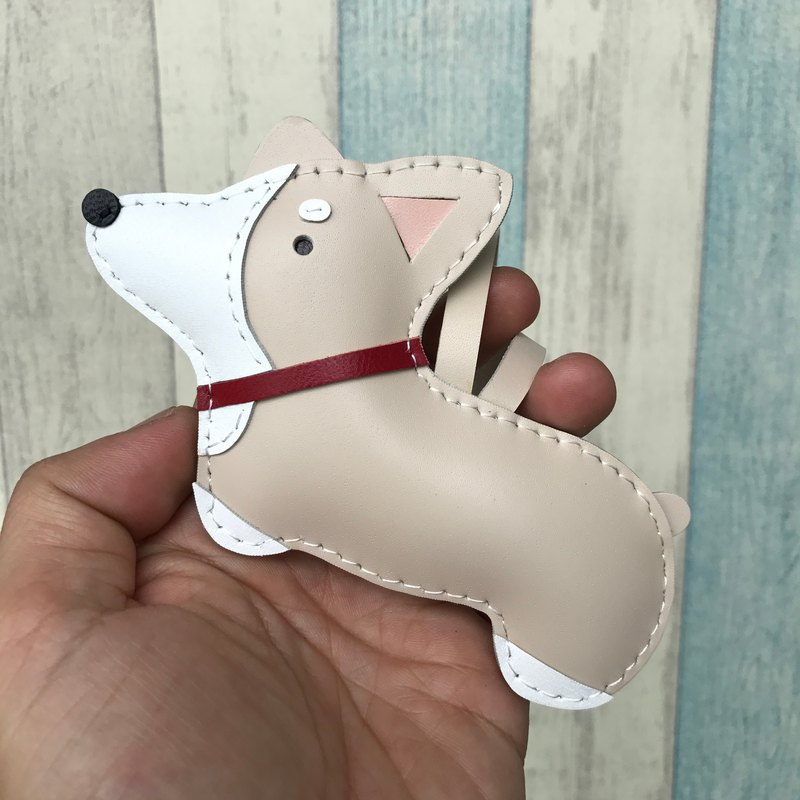 Healing Small Handmade Leather Beige Corgi Dog Handmade Sewing Charm Large Size