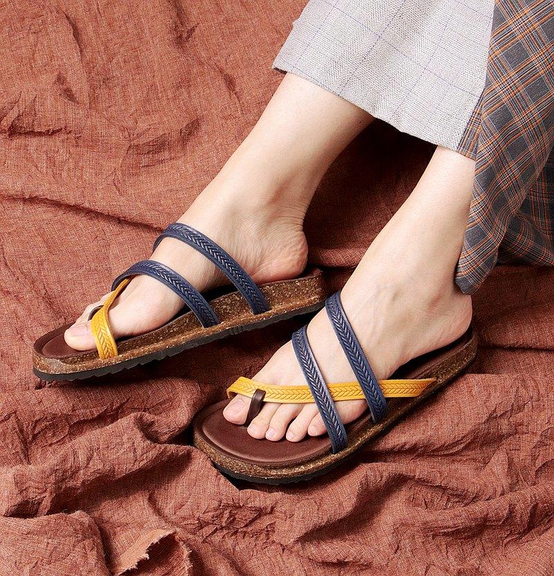 撞色黃藍 - 寬紋條勃肯鞋 #U372