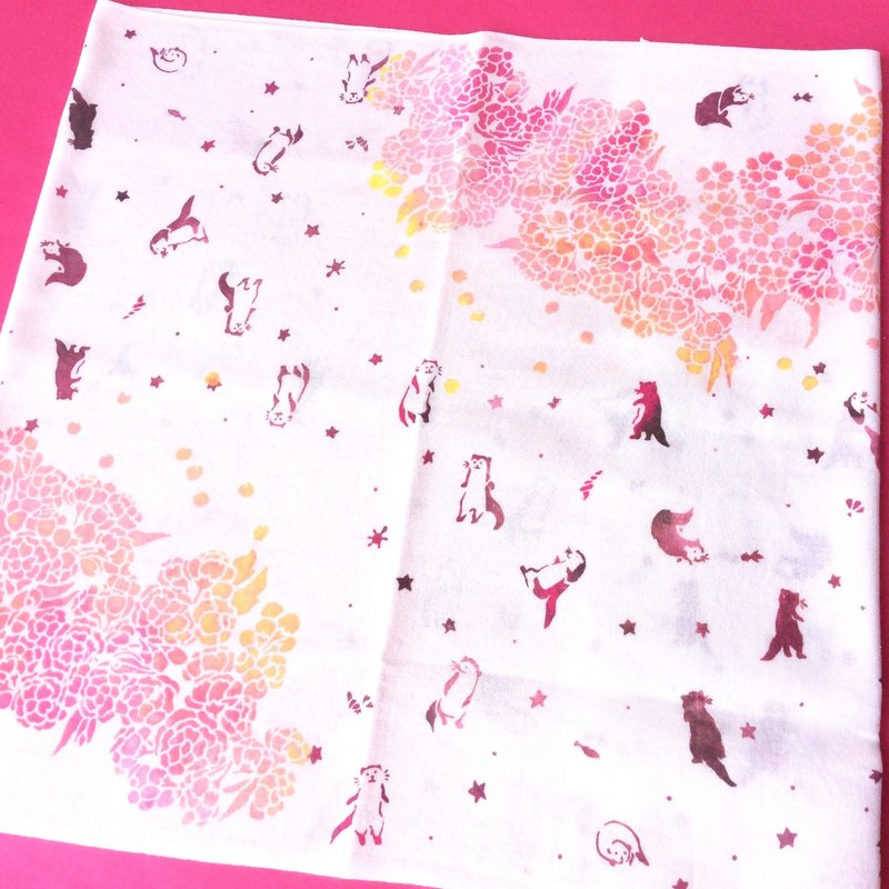Hand textile printing towel cherry blossom pencil