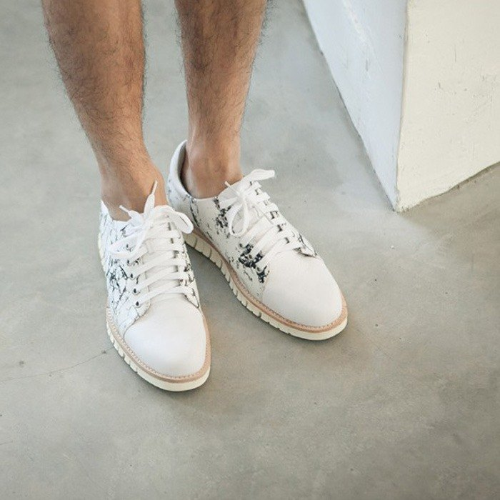 [Display items to be cleaned] white marble thick soft leather leather casual shoes sports shoes men