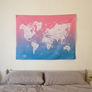 Customized world map cloth gradient pink blue tarpaulin