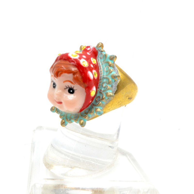 Red polka dot hair doll ring brass can be renovated without fading, adjustable size decorated with Swarovski crystal