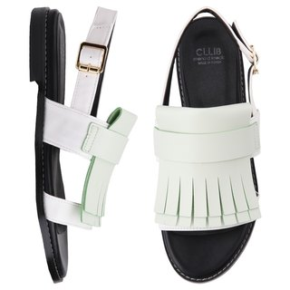 SPUR JELOW FRINGY CURTAIN SANDALS JS4325 WHITE