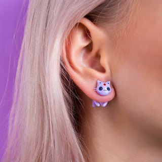 Purple Cat Earrings - Kawaii Cat Earrings Polymer Clay