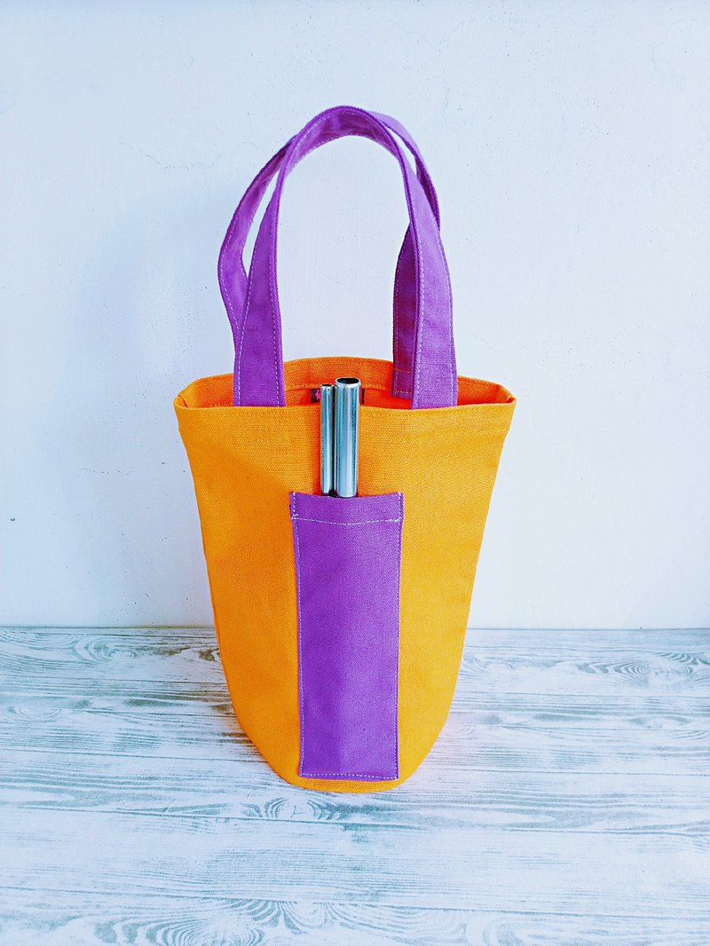 Orange juice purple green environmental protection universal canvas bag ice tyrant bag drink bag water bottle bag small bag
