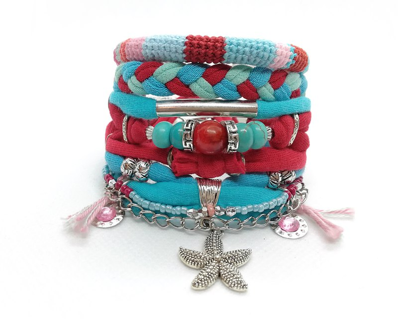 Bohemian Bracelet Set Red and Turquoise Starfish Gypsy Bracelet