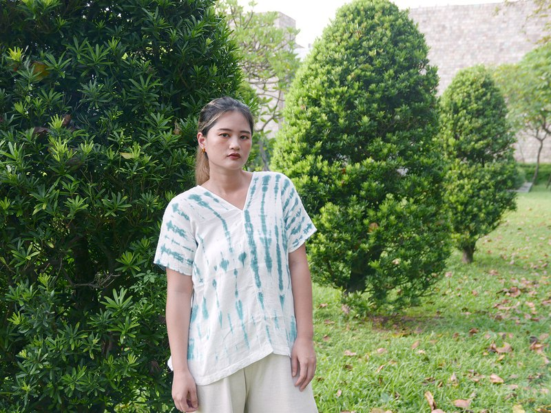 Bamboo Bamboo Hand-Dyeed Wide Drop Shoulder Top