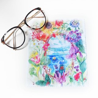 【Watercolor illustration superfine fiber glasses cloth】Flower World