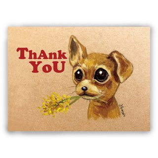 Hand painted illustration thank you card / universal card / postcard / card / illustration card - Thanksgiving dog