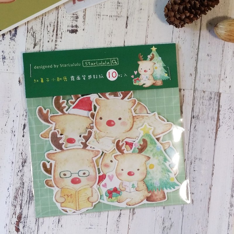 Matte texture sticker / red nose small reindeer (10 pieces) / Christmas exchange gift