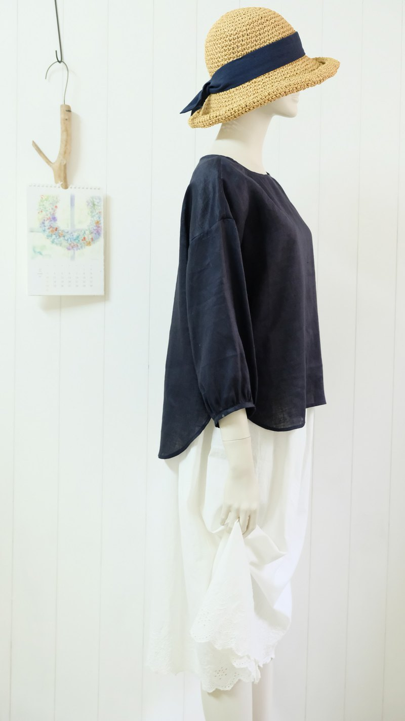 Moon hand suit dark blue jersey drop shoulder sleeves