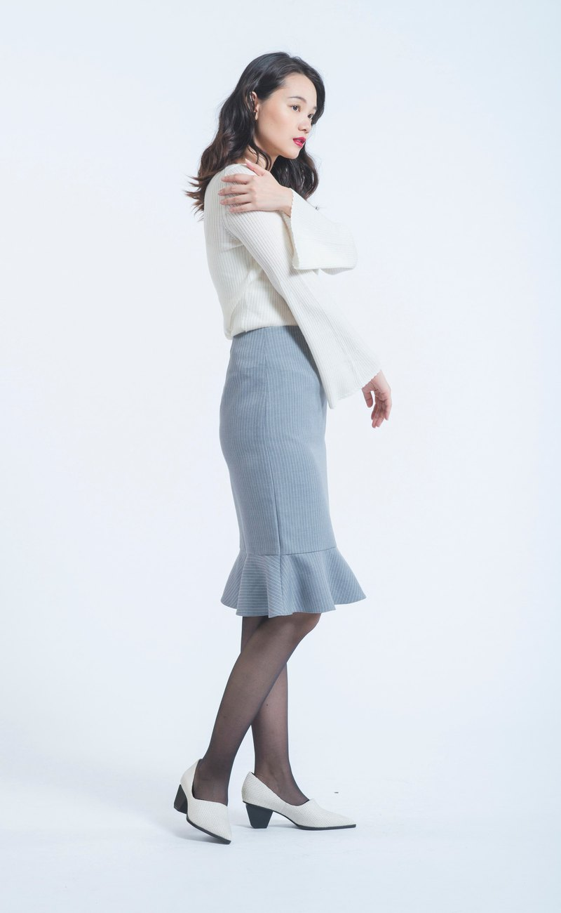 Gray wool CASHMERE fishtail skirt