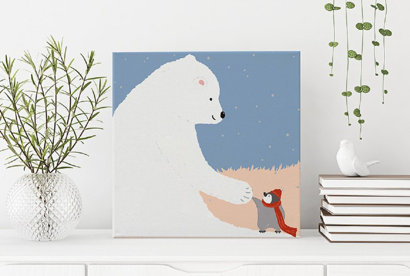Big white bear frameless painting / What can I do for you?