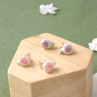 Mini Rosette Earrings/Clip on =Flower Piping= Customizable