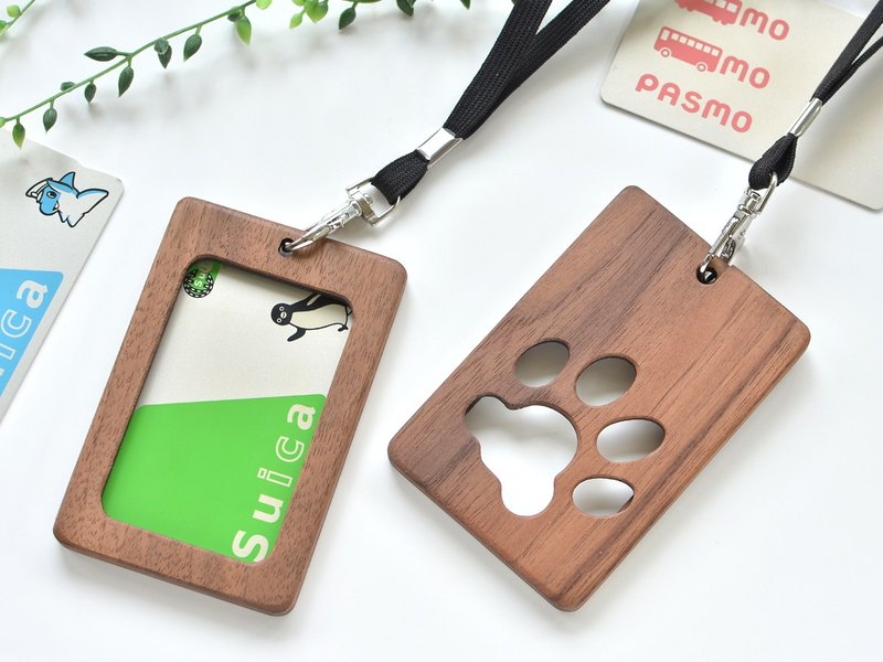 Neck strap wooden card holder/Dog paw pad