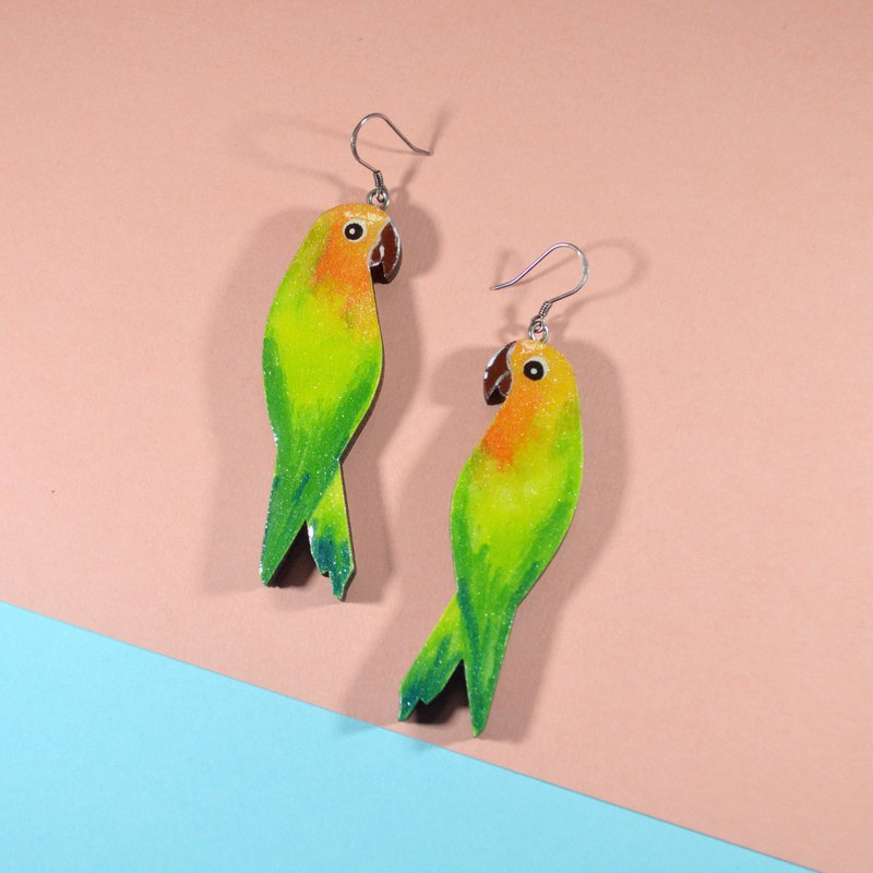 Forest fairy tale big golden sun blue monk parrot double earrings ear clip hand-painted wooden resin seal