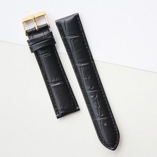 【PICONO】20-18mm texture black leather strap-Gold Buckle