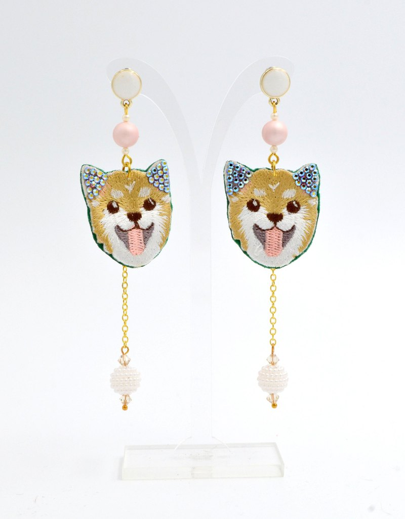 TIMBEE LO Shiba Inu puppy crystal embroidered earrings Swarovski elements Swarovski crystals