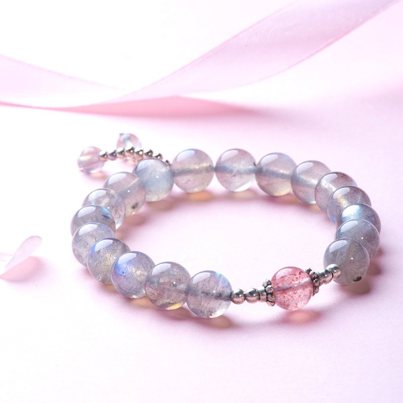 Rose Quartz, Labradorite 925 Sterling Silver Natural Gemstone Crystal Bracelet