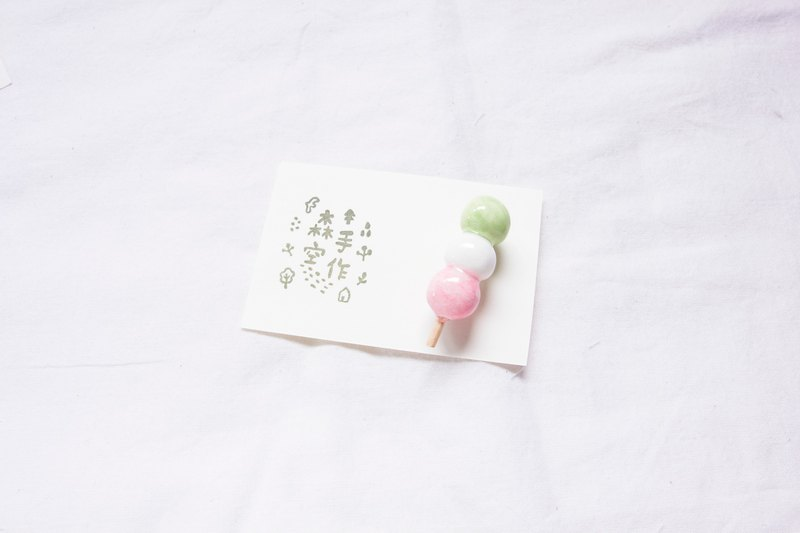 Handmade Japanese light clay tricolor ball brooch magnet brooch accessories