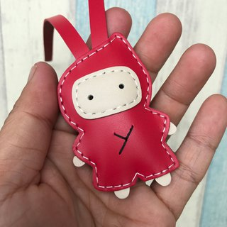 Handmade leather red cute ninja handmade sewn leather charm small size