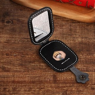 [Cut line] hand sewn cute kitty's cat make-up mirror / carry a mini mirror black section