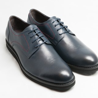 Hand-painted calfskin leather plain casual shoes Derby shoes leather shoes men's shoes - midnight blue - free shipping-E2A21-39