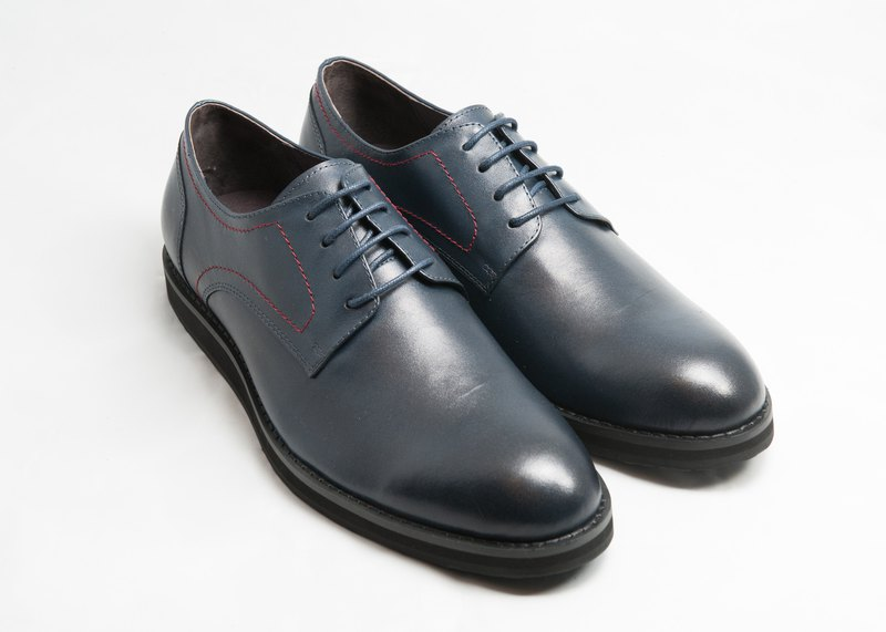 Hand-painted calfskin plain casual Derby shoes leather shoes men's shoes - midnight blue - free shipping -E2A21-39
