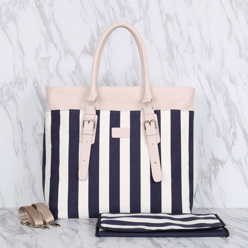 Fashion design blue and white strips large capacity multi-purpose mother bag