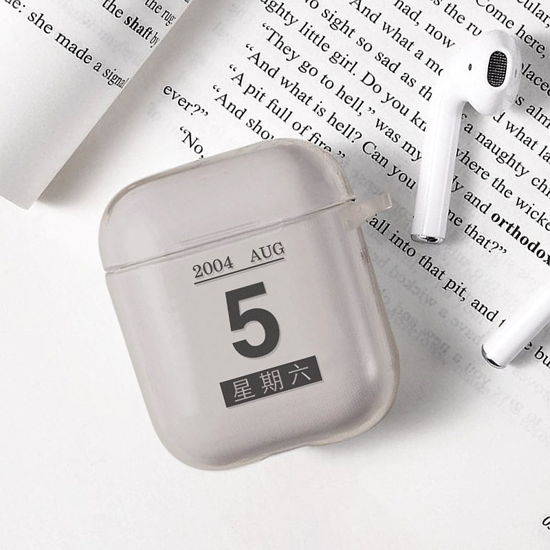 Calendar Transparent Silicone Airpods Protection Case Customized Printing Black