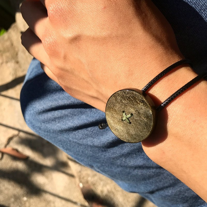 【Lost And Find】Natural OBSIDIAN hand carved button bracelet