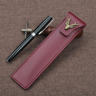 Handmade creative first layer of leather MontBlanc Weidi Ling Mei Parker hero Namiki pencil case single pen gift gift