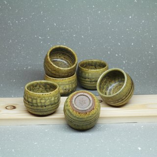 Gray glaze cup group (six cups) hand pottery tea props