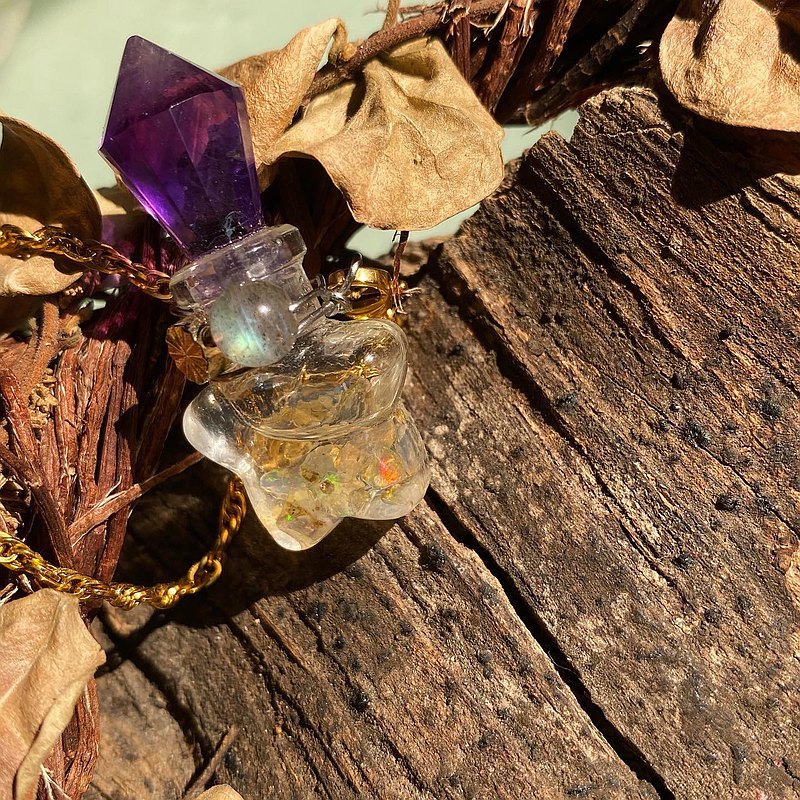 【Lost And Find】Natural opal Amethyst bottle necklace