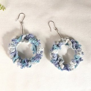 Crochet _ Wreath Dangle Earrings _ Blue Green