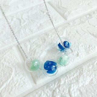 Mint Pastel Green Navy Blue Necklace Bridesmaid gift wedding  Glass Ball Flower