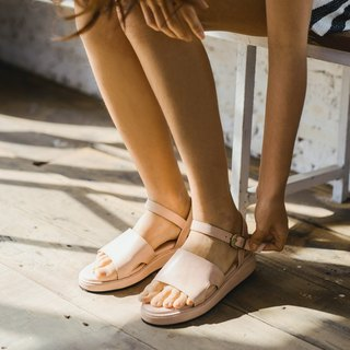 Simple strap sandals shoes - Pink beige